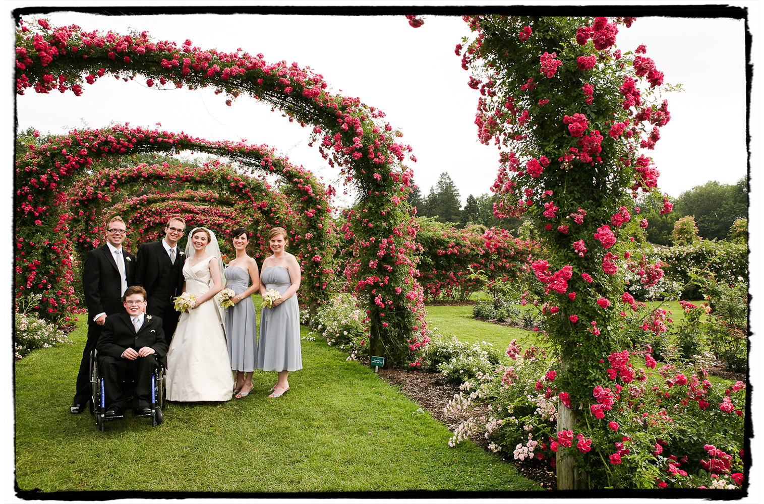The Hartford Botanical Garden provided the perfect scenery for this beautiful wedding party portrait.