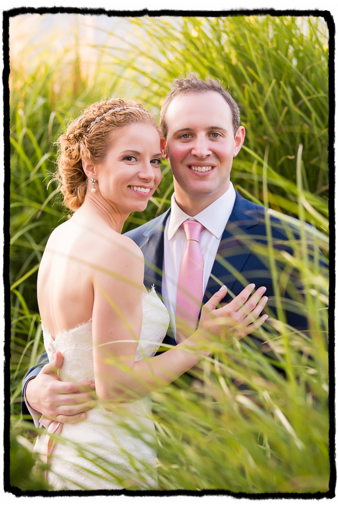 "The tall grasses by the beach at Bonnet Island Estate was a perfect spot to shoot this ""just married"" portrait."