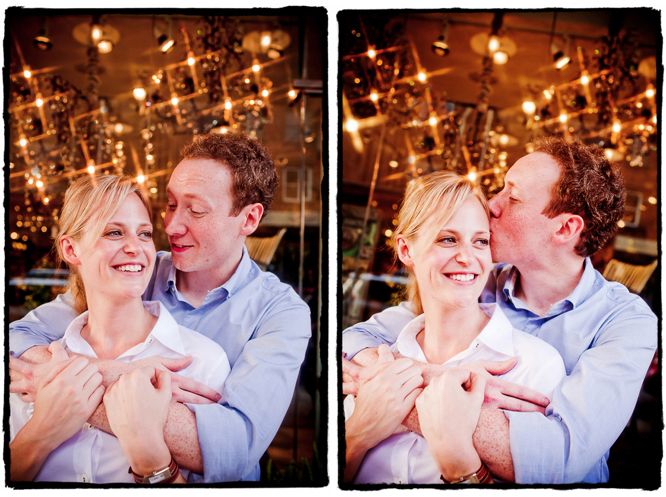 Engagement Portraits: Kate & Charlie with some twinkling lights in the West Village.