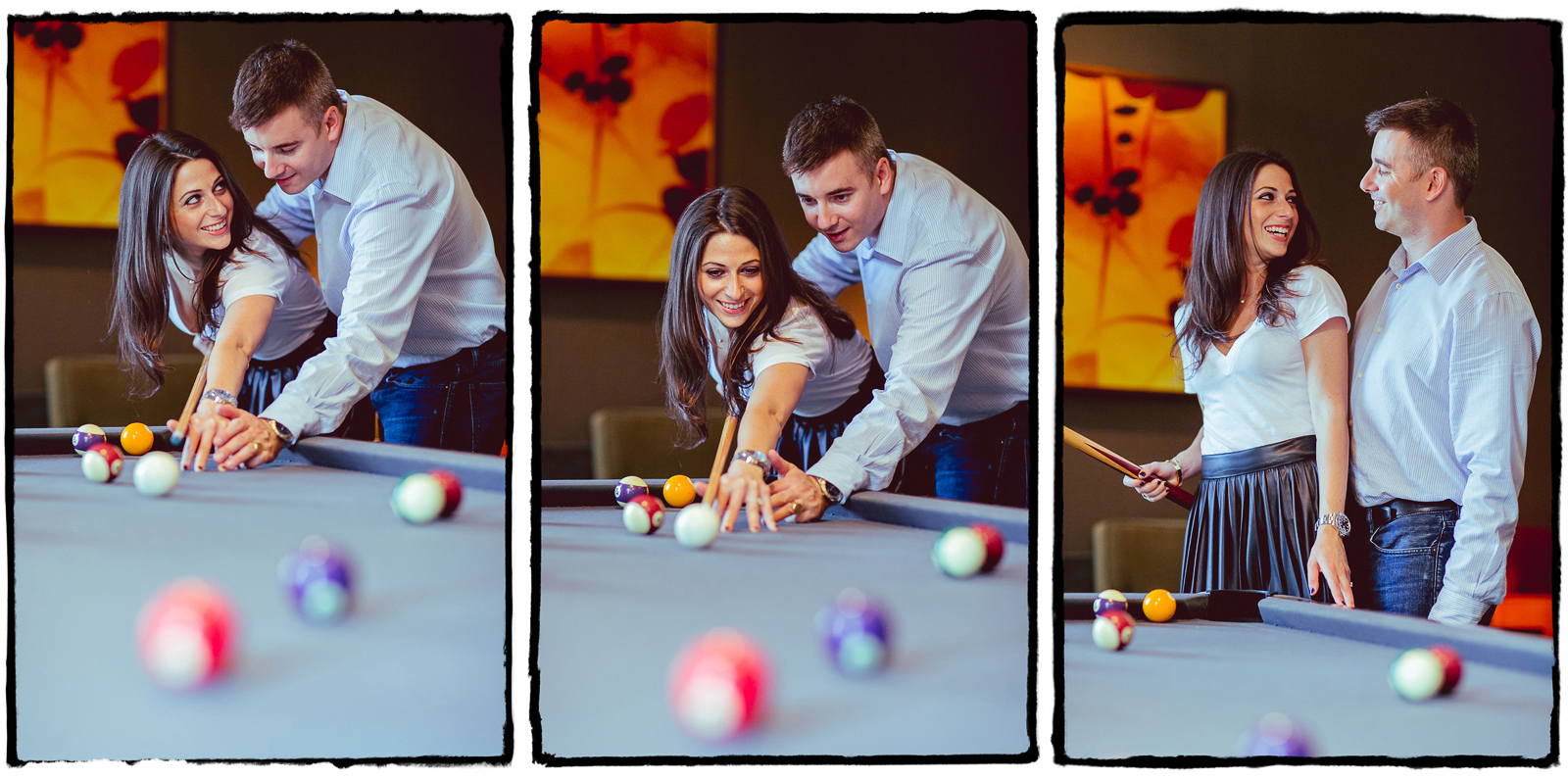 Marisa & Rob's apartment building had a lounge with a pool table, so naturally we got some cute shots of them playing together.