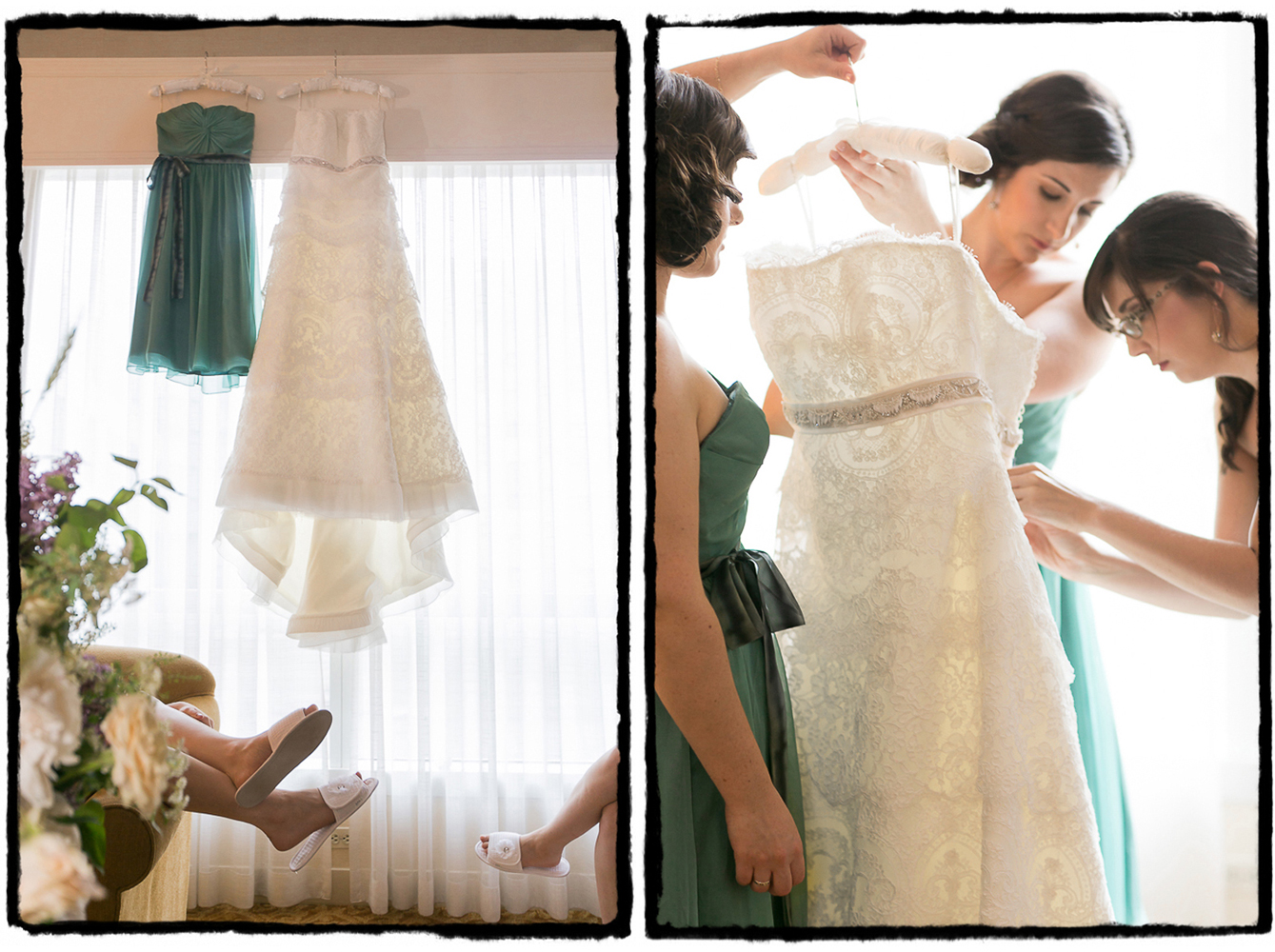 Alexandra's bridesmaids prepare the dress for her to step into for her wedding at The Palm House..