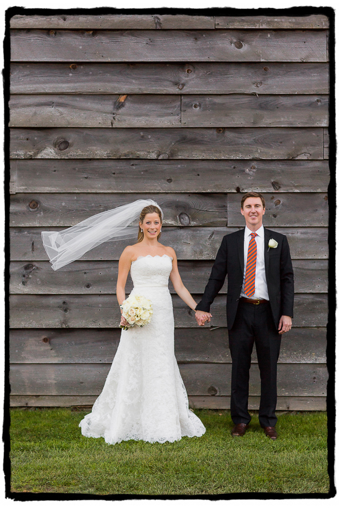 Noelle & Tim were married on a pleasantly breezy day at Highlands Country Club.  I loved the rustic wooden barn you see behind them here.