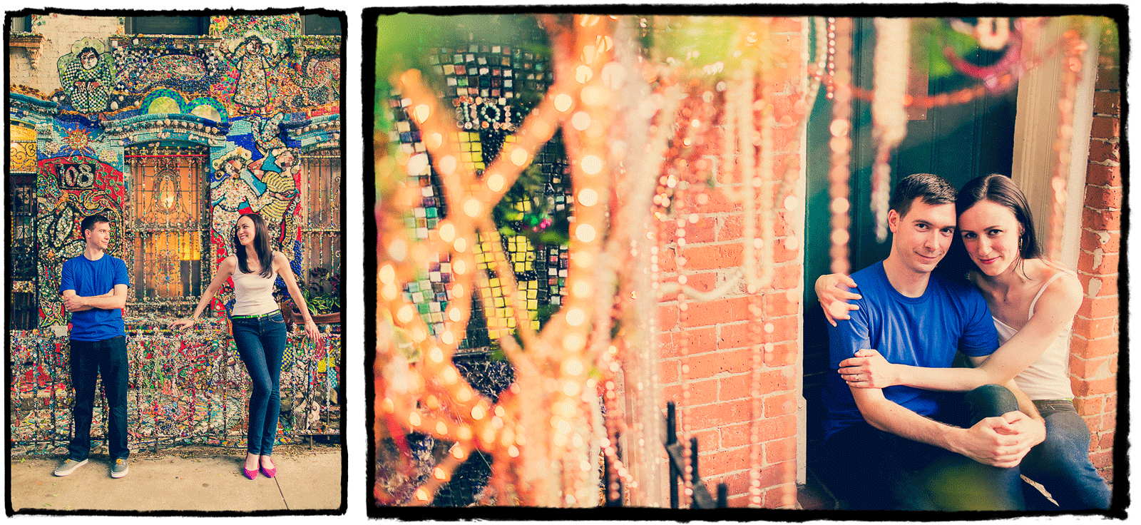 Engagement Portrait: Pat & Shannon show off the artistic decor in their neighborhood in Brooklyn.