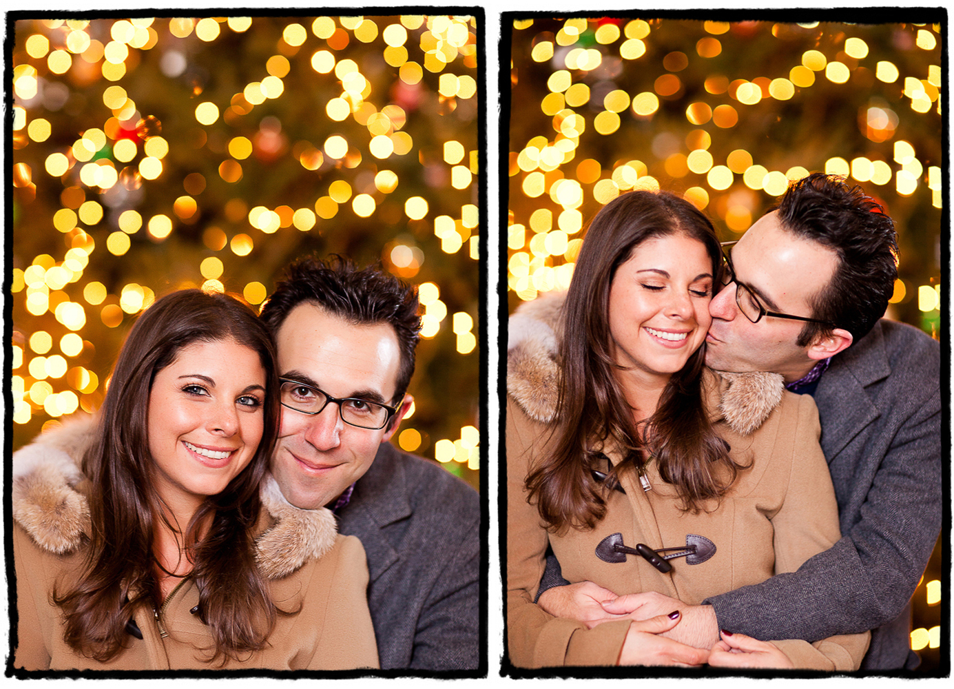 Engagement Portrait: Jessica & Ross in front of some twinkly lights in DUMBO during a wintry shoot.