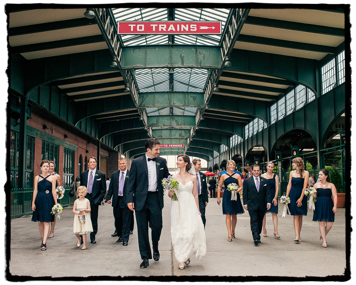 The old train station museum made a wonderful backdrop for a walking shot with this fun bridal party.