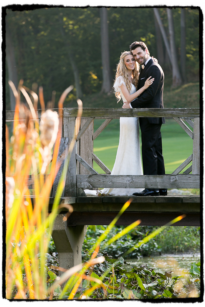 Jaymie & Brad drove golf carts with us out to this sweet bridge on the golf course at Fresh Meadow Country Club.