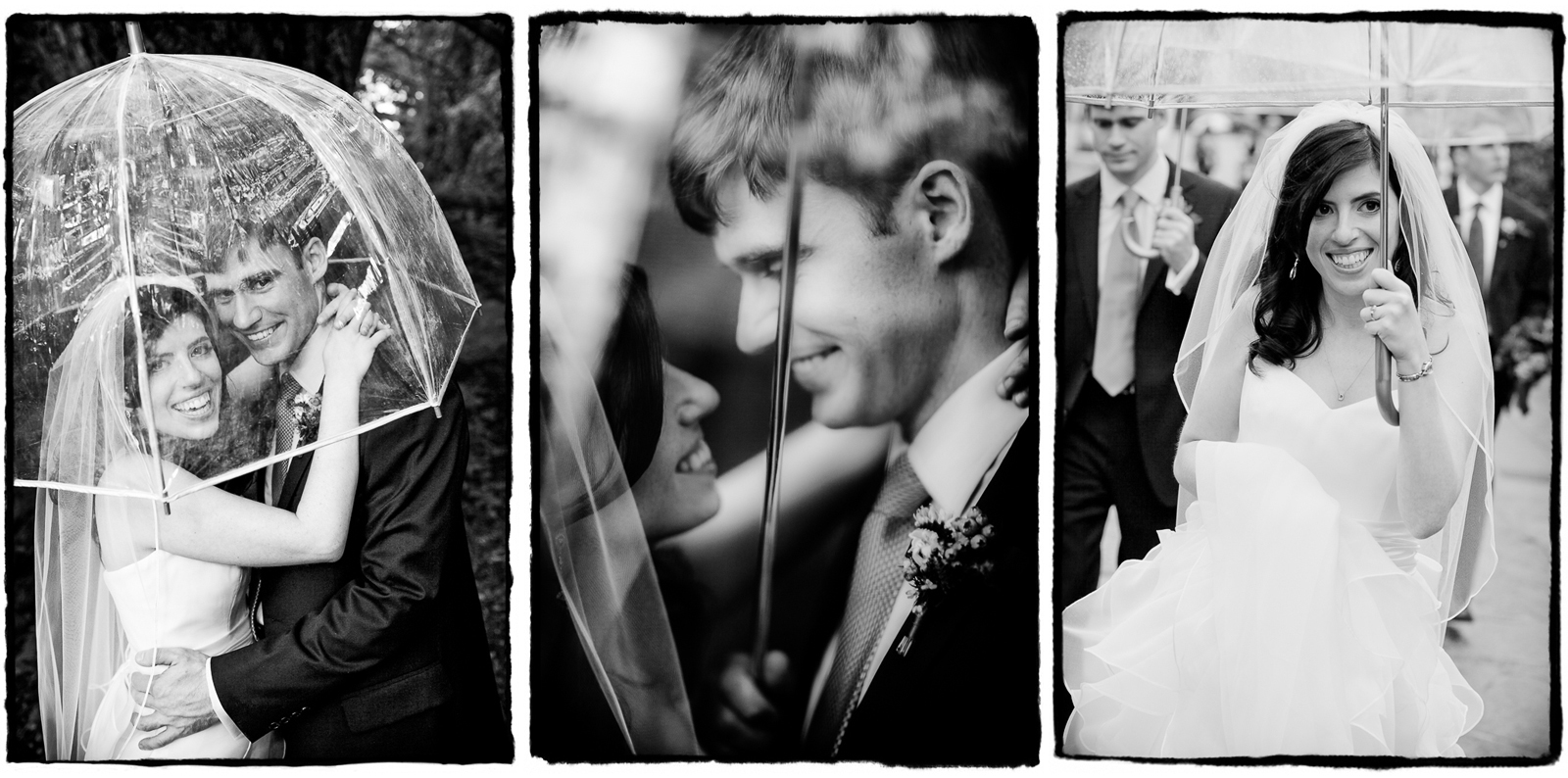 It rained on and off throughout the day at this Palm House wedding, but that didnt' stop Deen and Joe from walking around with me for outdoor portraits- they were prepared with these clear umbrellas, which is my photographer's recommendation if you are nervous about rain on your wedding day.  Dark or colored umbrellas will shadow the face or create a color cast on your skintone.