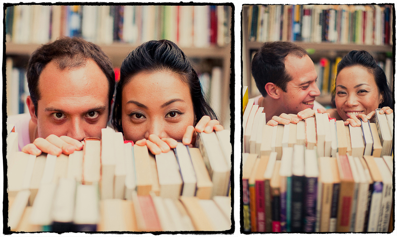 Engagement Portraits: Bajir & Maki goof around with a shelf of books for sale in Williamsburg, Brooklyn.