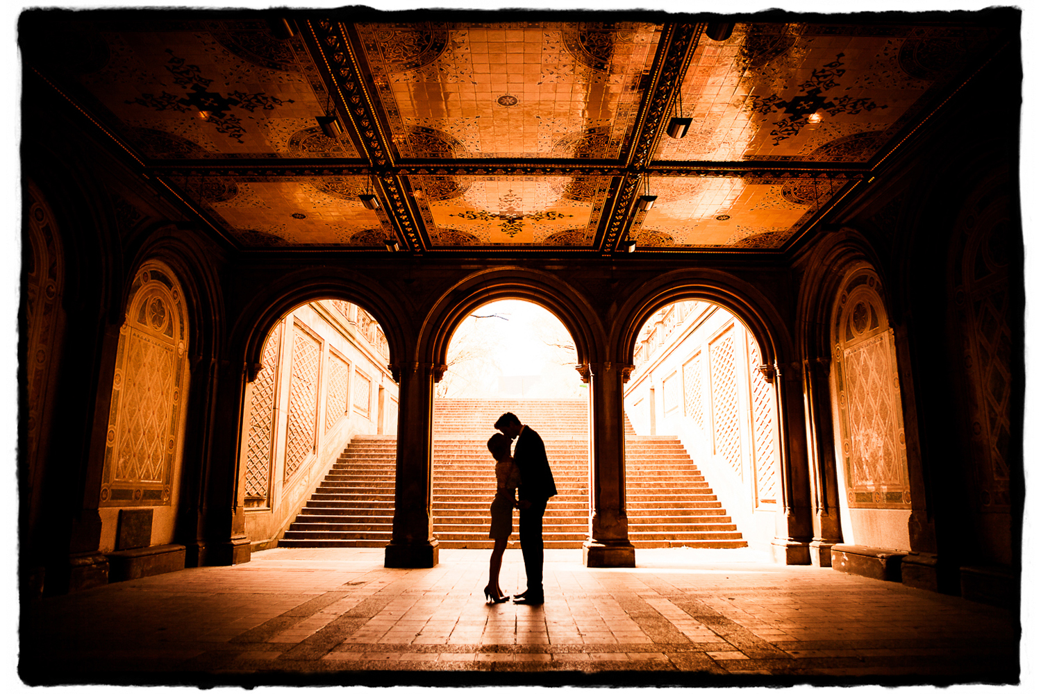 This german couple flew to New York City to elope and celebrate with a honeymoon vacation all at once.  I was able to capture this sweet moment alone under the arches between the Bethesda Fountain and the Mall in Central Park shortly after their intimate ceremony under a gazebo nearby.