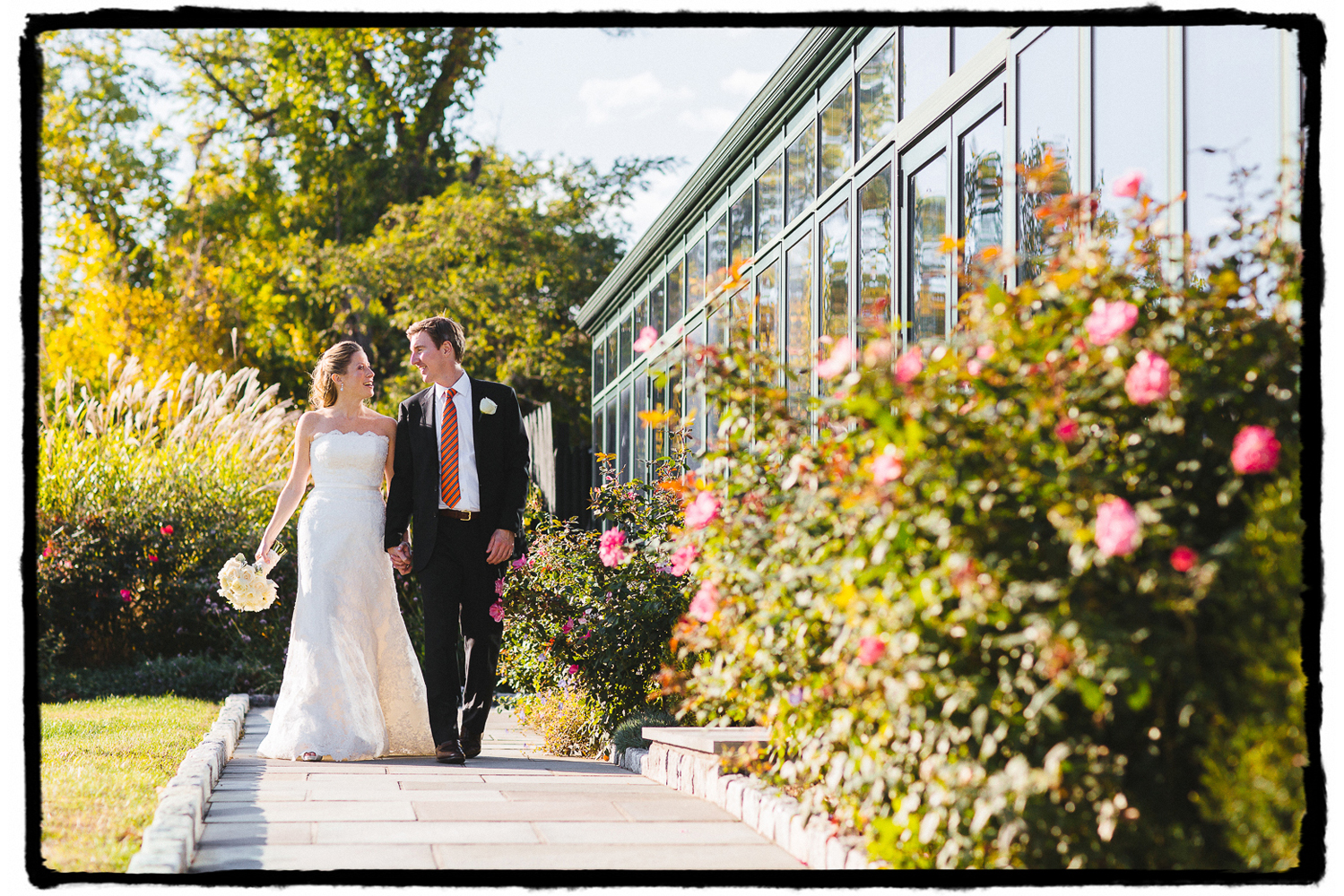 Noelle and Tim were radiant on their wedding day as they walked along this path at Highlands Country Club in the Hudson Valley.