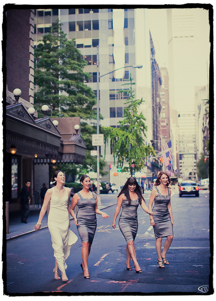 Amy and her bridesmaids cross a midtown street on their way to the wedding at Housing Works Bookstore in SoHo.