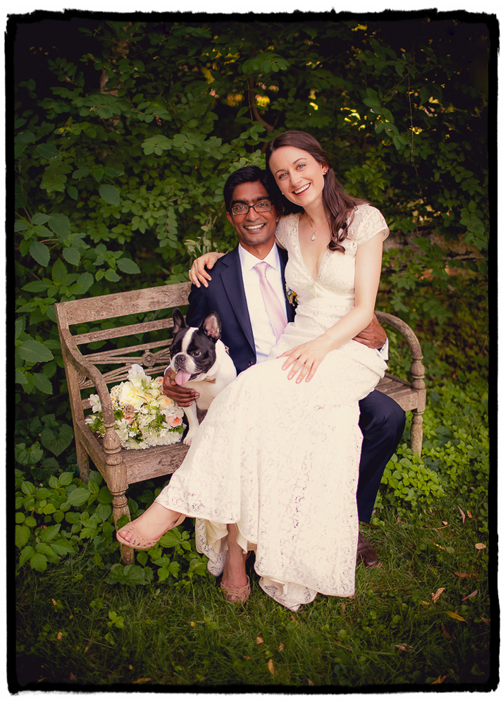 Katie and Sharmilan adore their french bulldog Wilbur and we just had to get a sweet family portrait of the three of them at their wedding at Buttermilk Falls in the Hudson Valley.