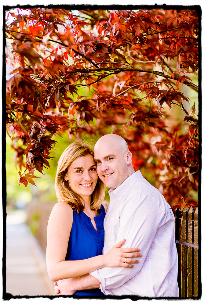 Engagement Portrait: Carrie & Brian smile under a gorgeous red maple in the West Village.