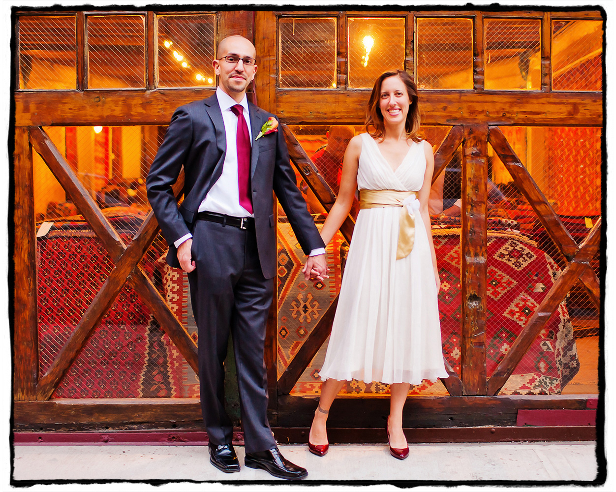 Adam and Shireen took a walk around the surrounding SoHo blocks before their wedding at Housing Works Bookstore in Manhattan.