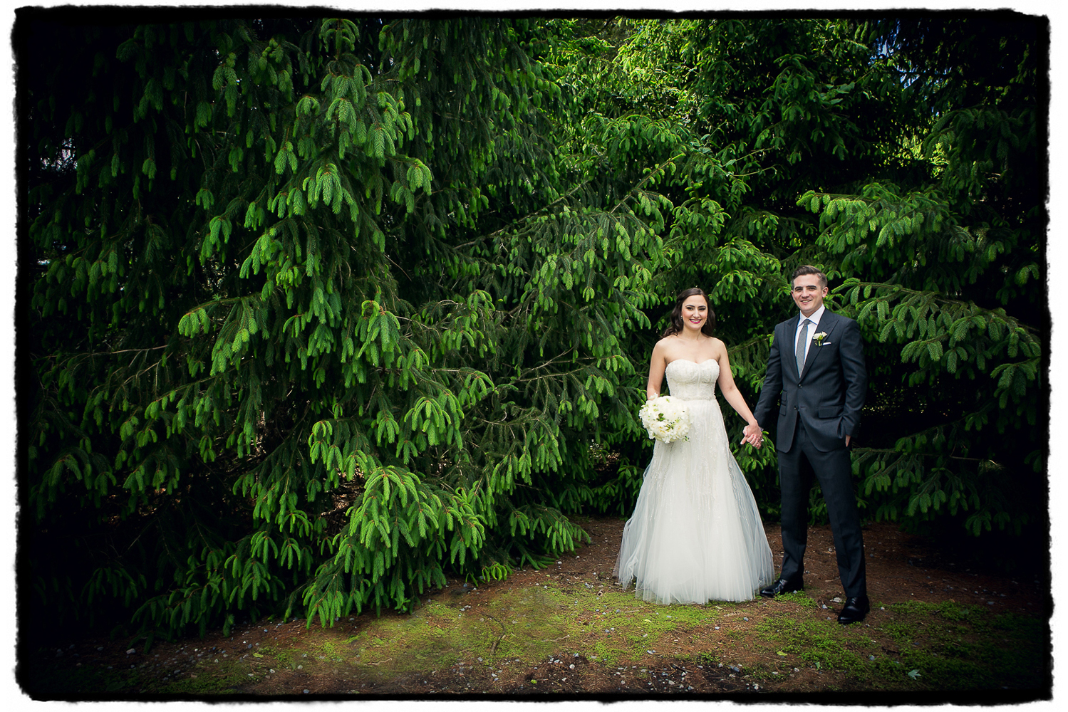 The incredible trees on the grounds at Lyndhurst Castle was the perfect rich background for this couple portrait.