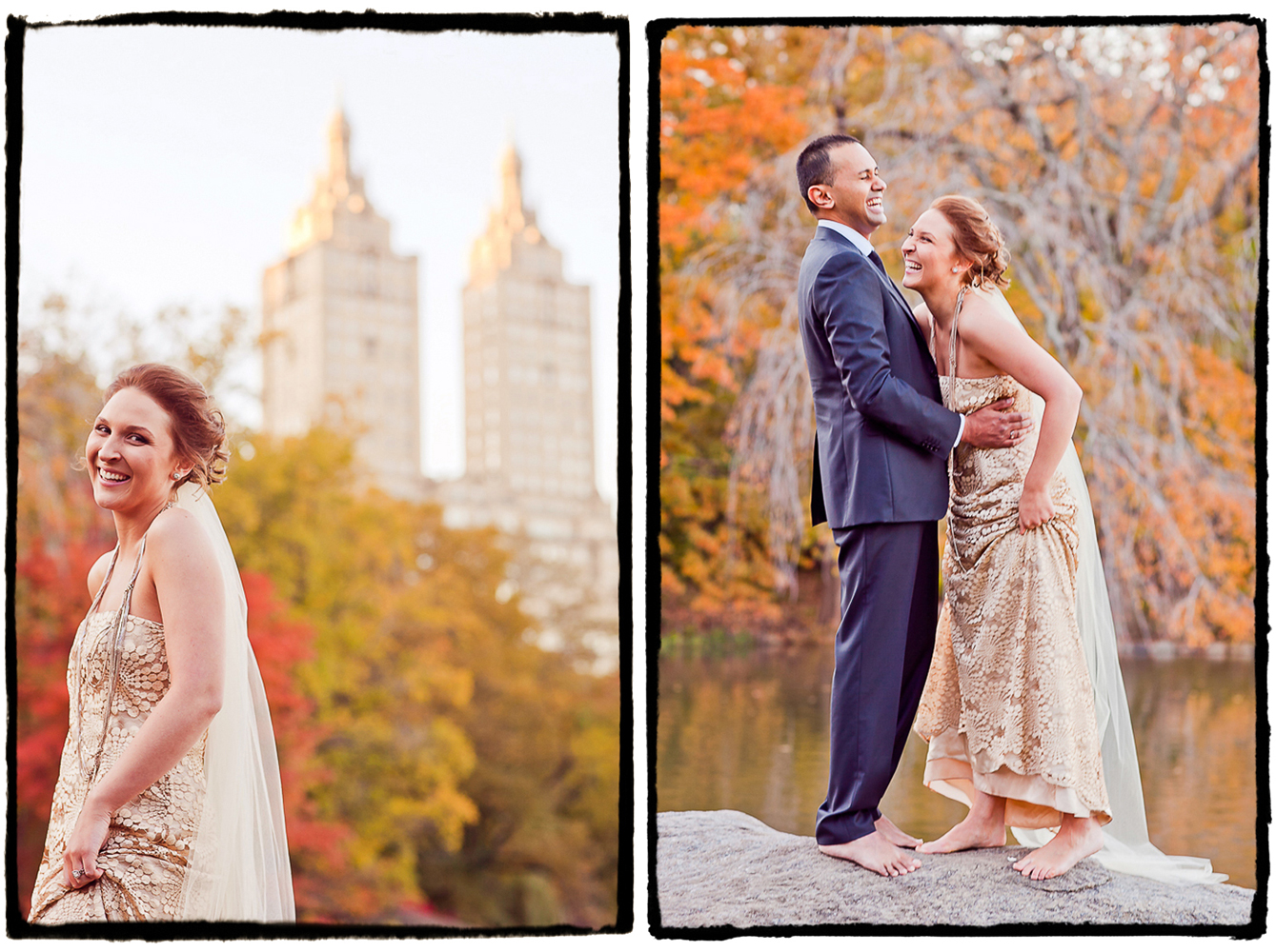After a fall elopement in Central Park we took some time to walk around and make some beautiful photographs.  I loved how the colors of the fall foliage were complementing the warth of this bride's gown.