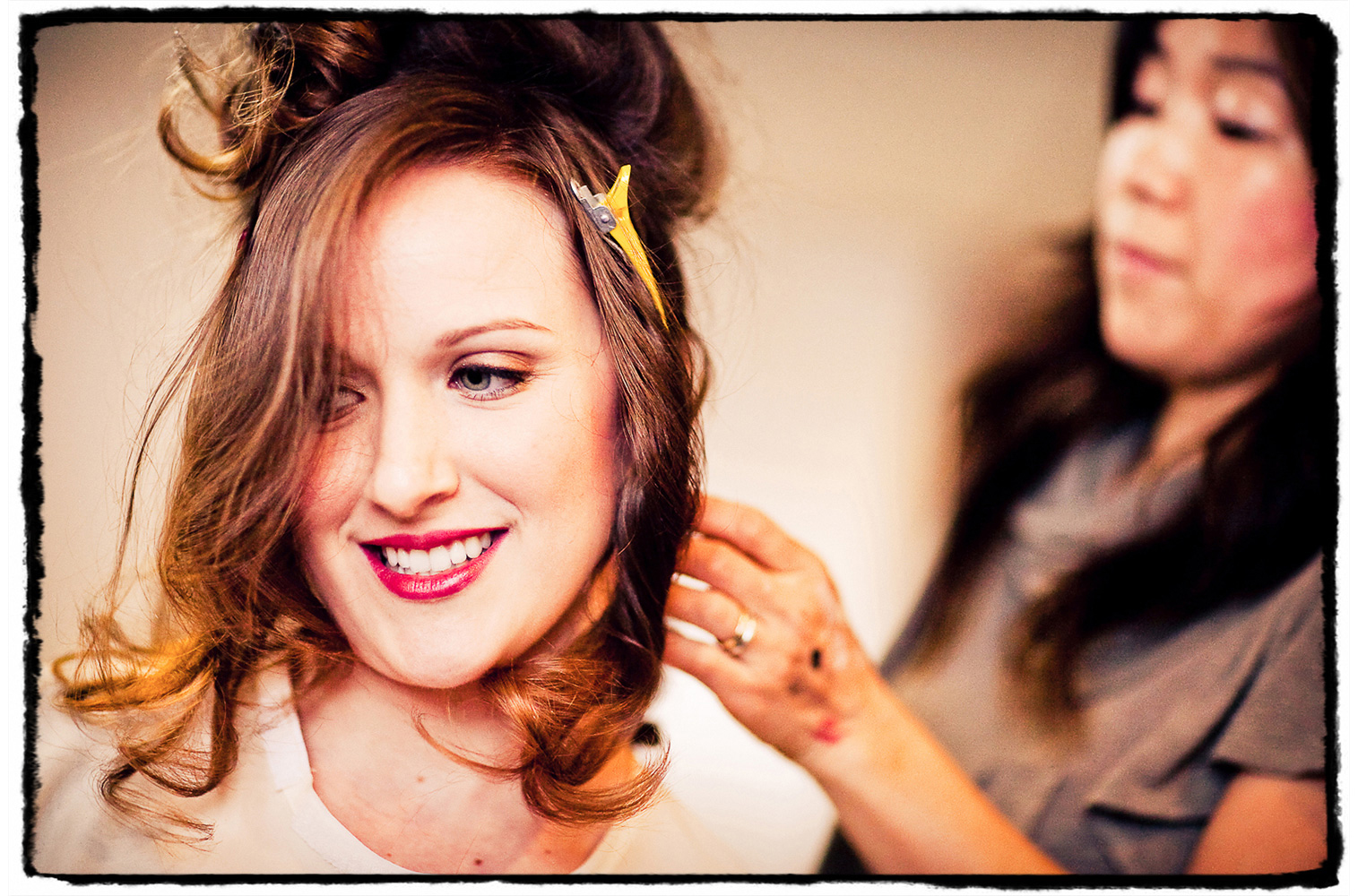I love capturing the excitement during hair and makeup with the bride and her bridesmaids.