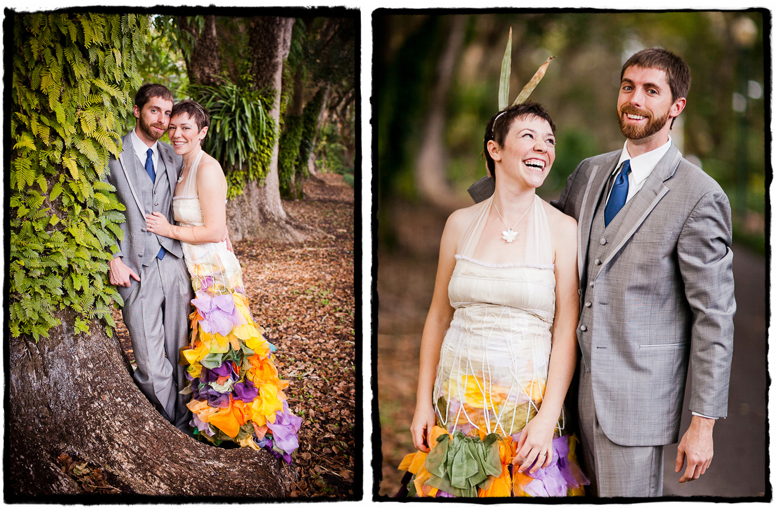 This couple fell in love at Burning Man and brought their creative spirit to the forefront of their amazing wedding in Florida.  I loved this multi-colored custom wedding gown Christine had made by an independant designer..