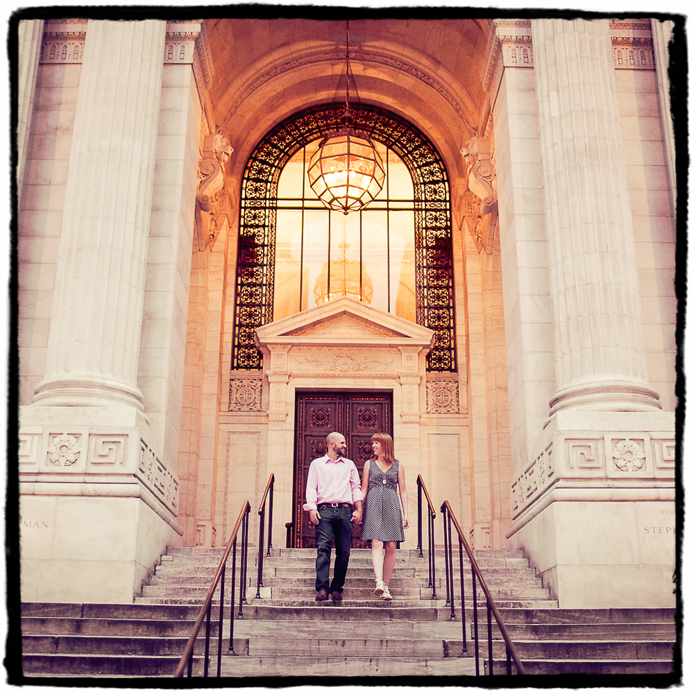 Engagement Portraits: Jenni & Brandon at New York Public Library.