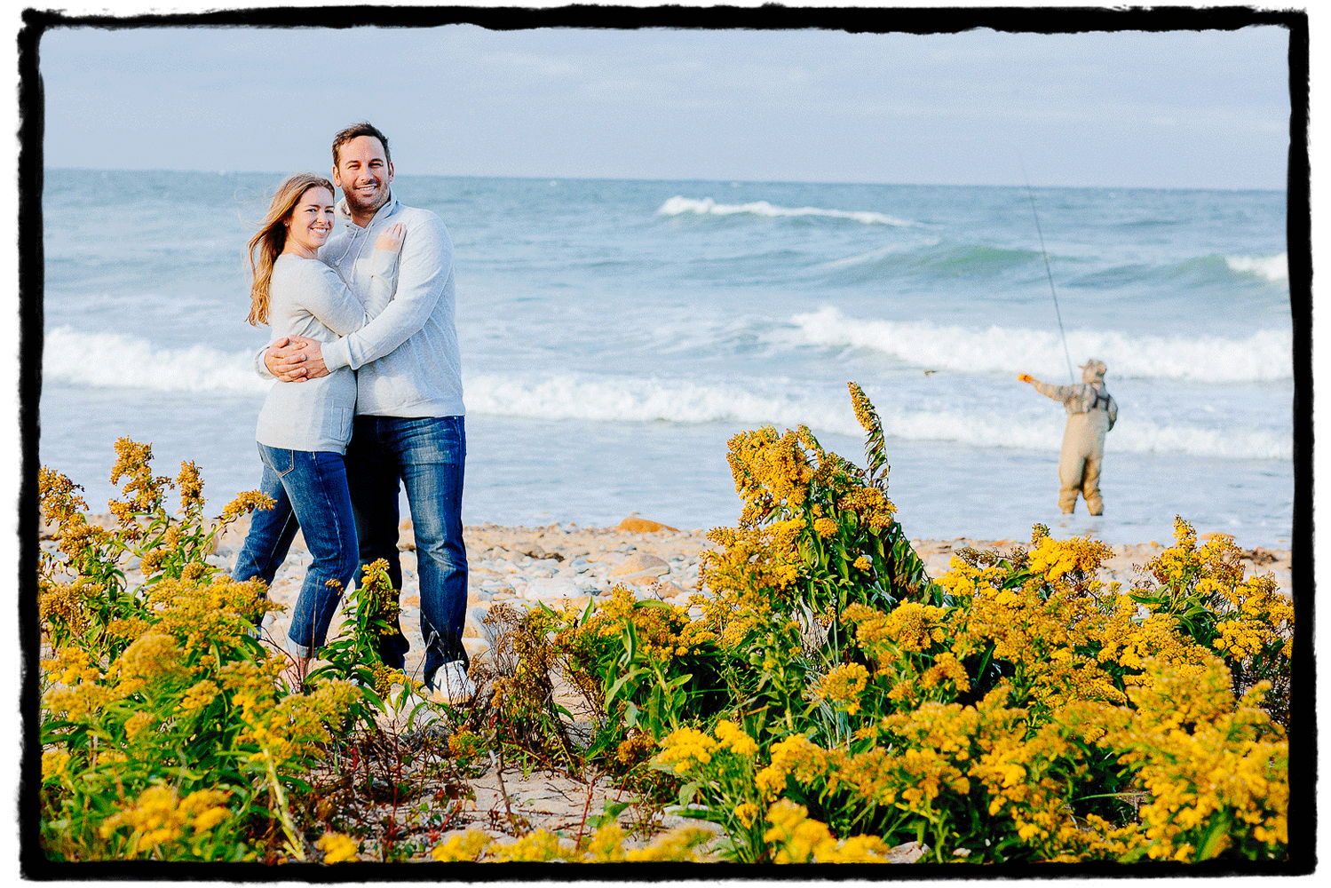 Engagement Portraits: Gina & Jamie enjoy the salty sea air in Montauk, Long Island.