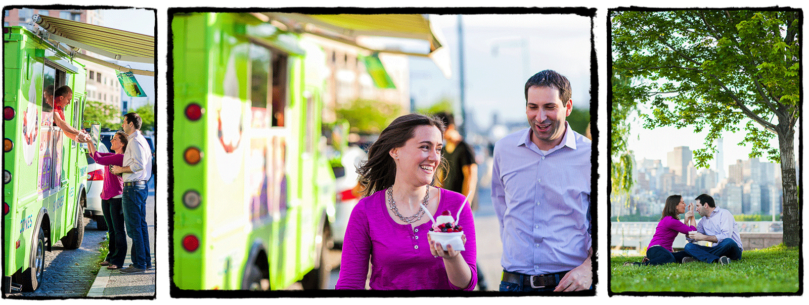 Engagement Portraits: Johanna & Greg visit the ice cream truck in Long Island City.