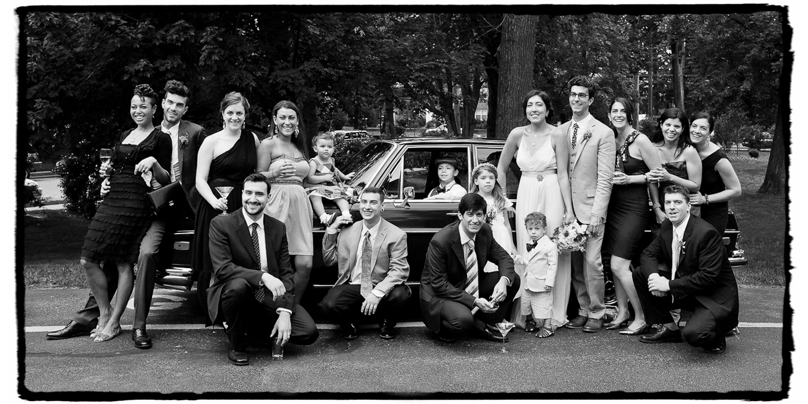 Grandpa's vintage Mercedes made a perfect backdrop for this bridal party.