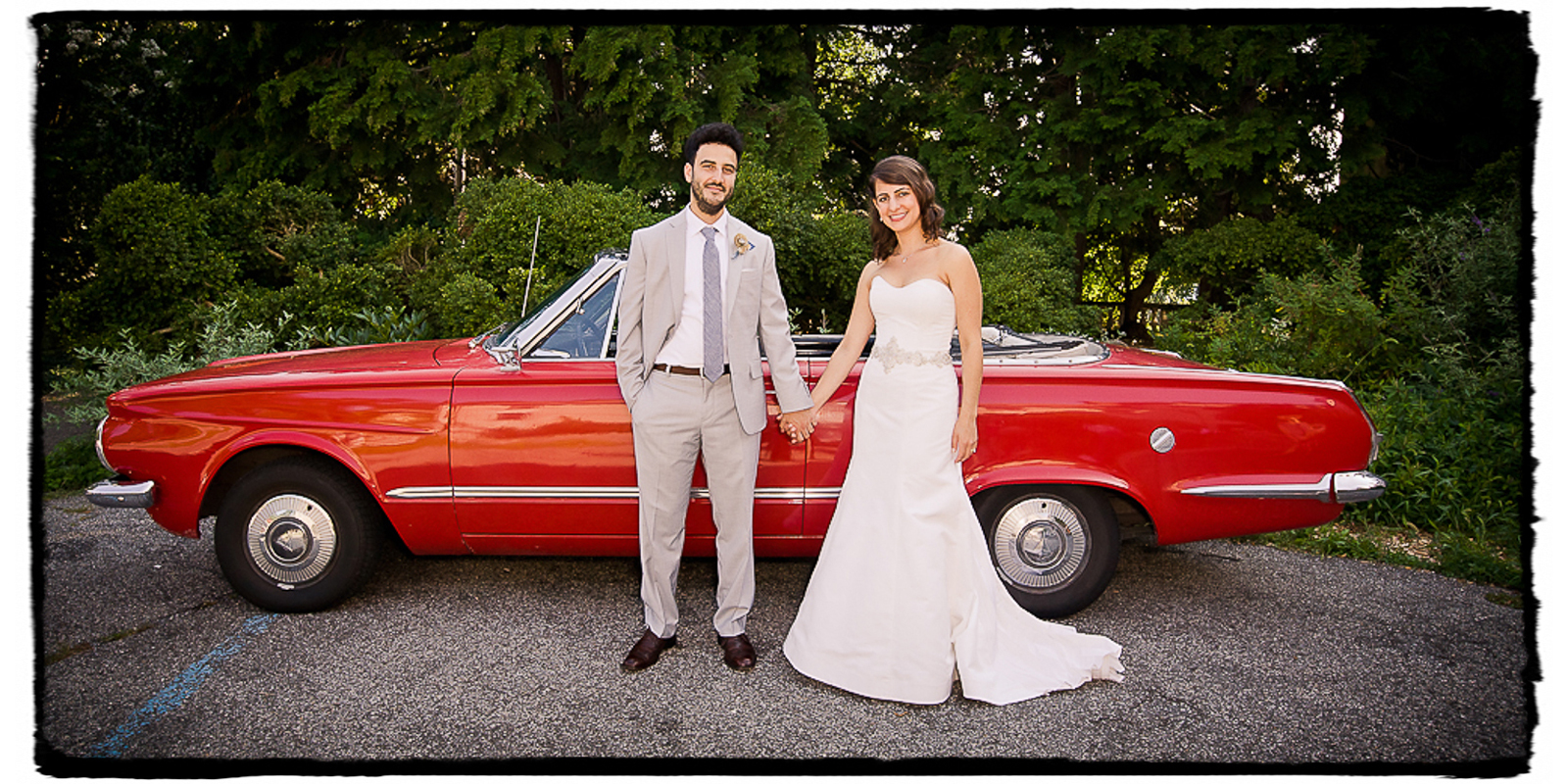 Tracey and Ben definitely wanted a shot with the vintage convertable that was to be their getaway car at the end of this vintage DIY themed wedding at Alder Manor.