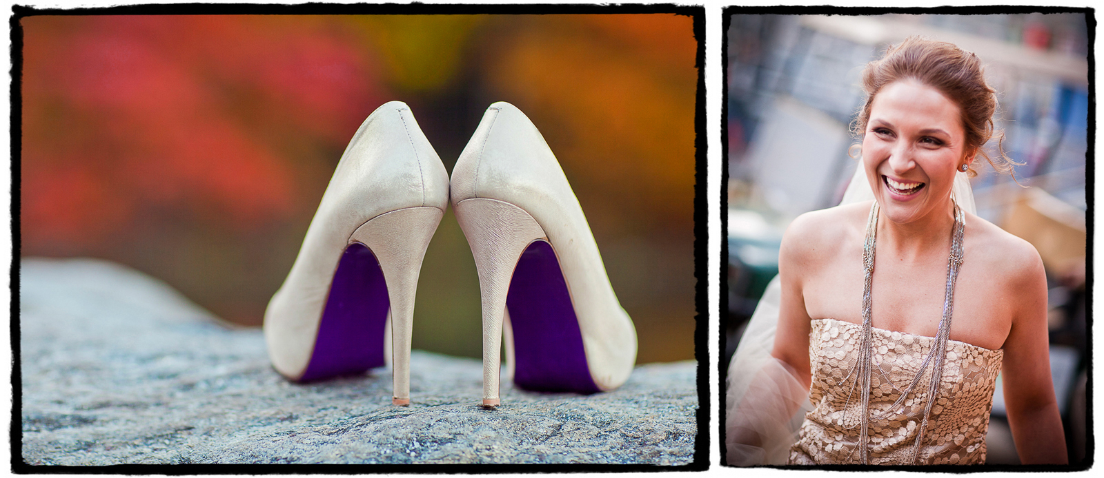 beautiful wedding shoes and a unique necklace were a stylish complement to the gold lace gown at this central park elopement ceremony.