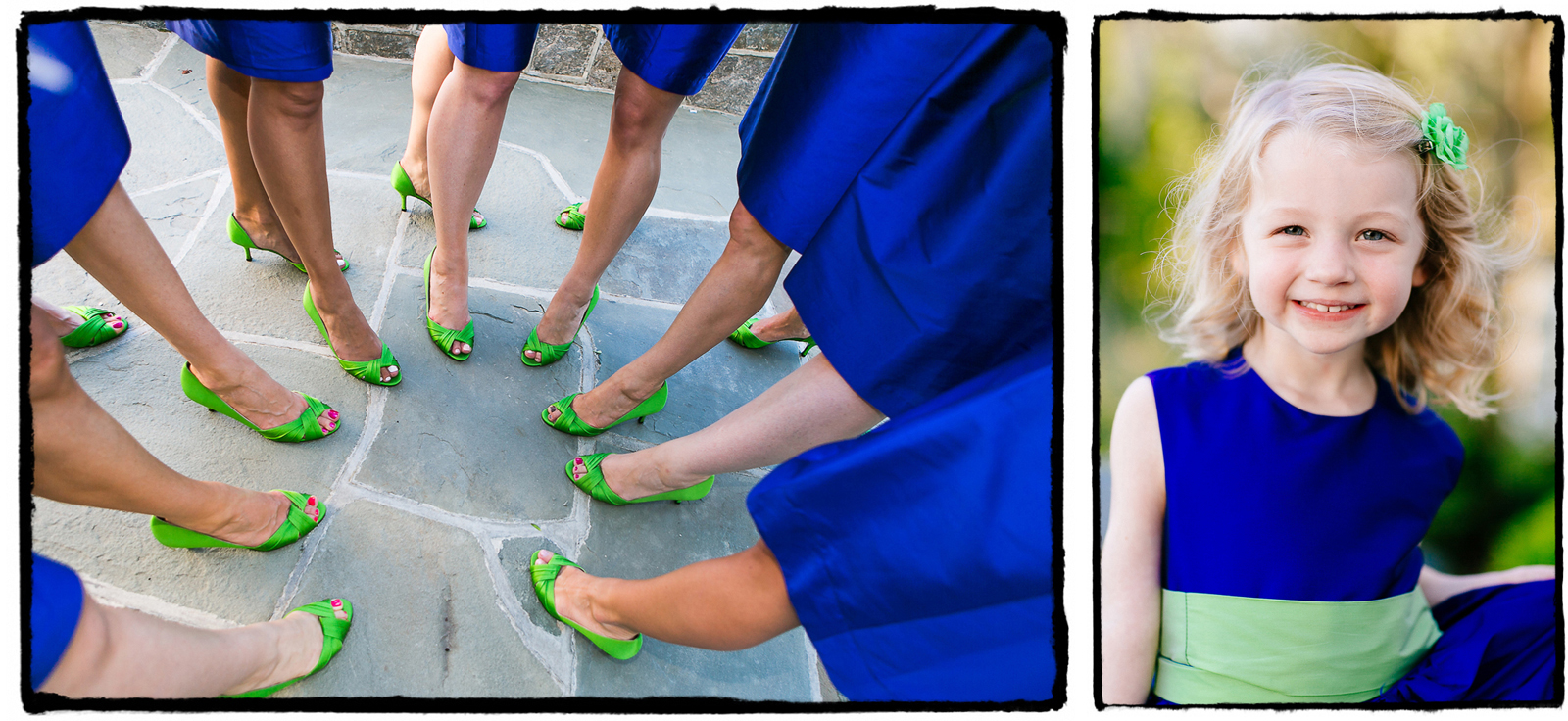 Vibrant blues and greens were the order of the day at this Belle Haven Club wedding.