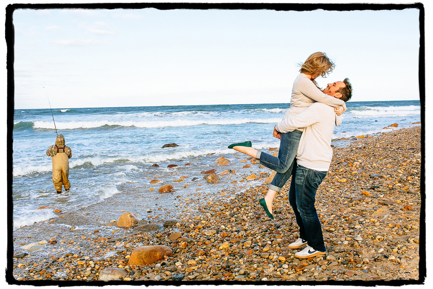 Engagement Portraits: Gina & Jamie on the pebbled beach of Montauk.