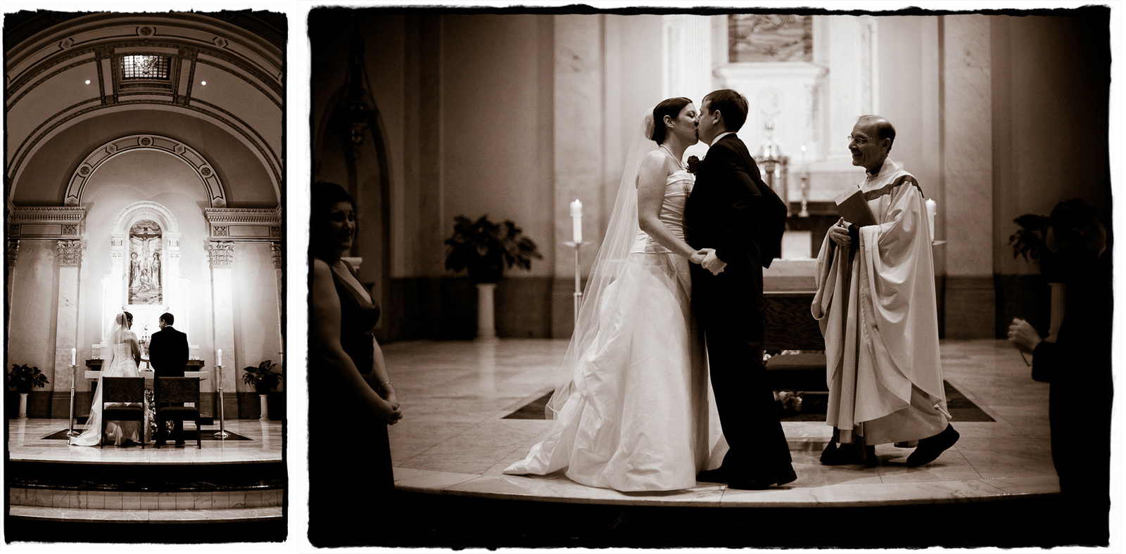 Elizabeth and Brendan share their first kiss as husband and wife in this lovely church ceremony.