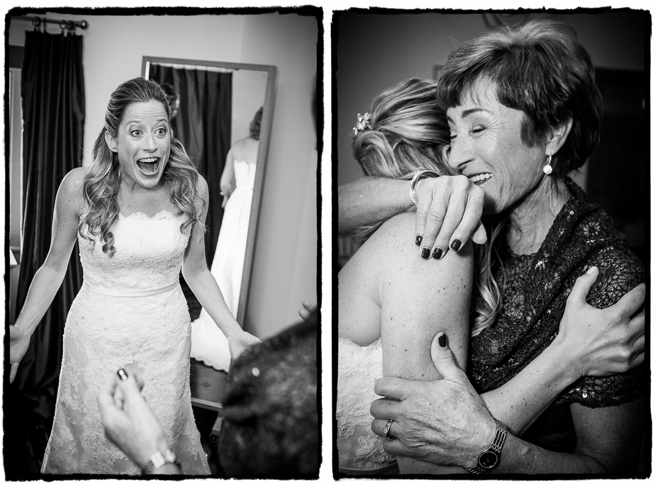 Noelle and her mother share an excited hug after she put her dress on for the wedding.