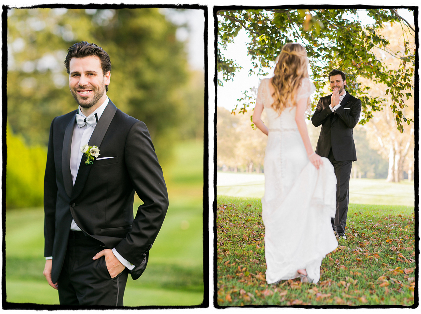 Jaymie and Brad shared a first look under a giant tree on the green at Fresh Meadow Country Club.