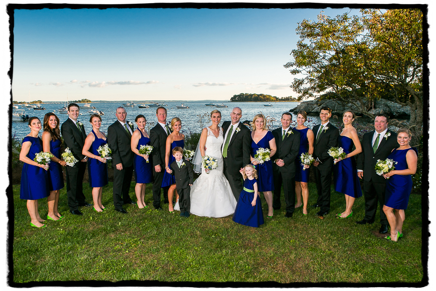 This wedding party was perfect in blue in the yacht club setting of Belle Haven Club in Greenwich, Connecticut.