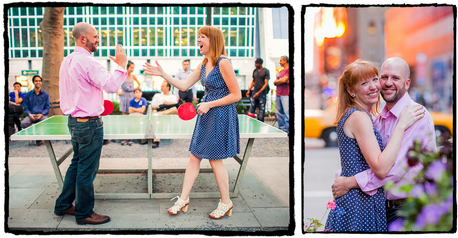 Engagement Portraits: Jenni & Brandon play table tennis in Bryant Park.