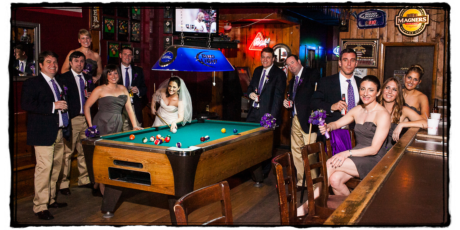Allison & Peter wanted a shot with their bridal party in their favorite local watering hole in the West Village, NYC.